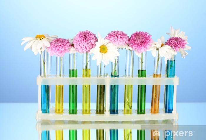 Aufkleber Blumen In Reagenzgläser Auf Blauem Hintergrund Isoliert Pixerstick
