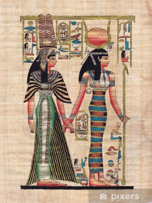 Pixerstick Sticker Scene uit de Egyptische mythologie geschilderd op papyrus - Kunst en Creatie