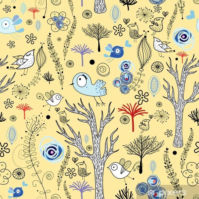 Plakat Bezszwowe naturalne wzory drzew i ptaków - Tekstury