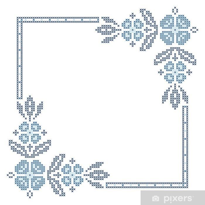 Poster Kreuzstich-Stickerei in der ukrainischen Stil - Blumen