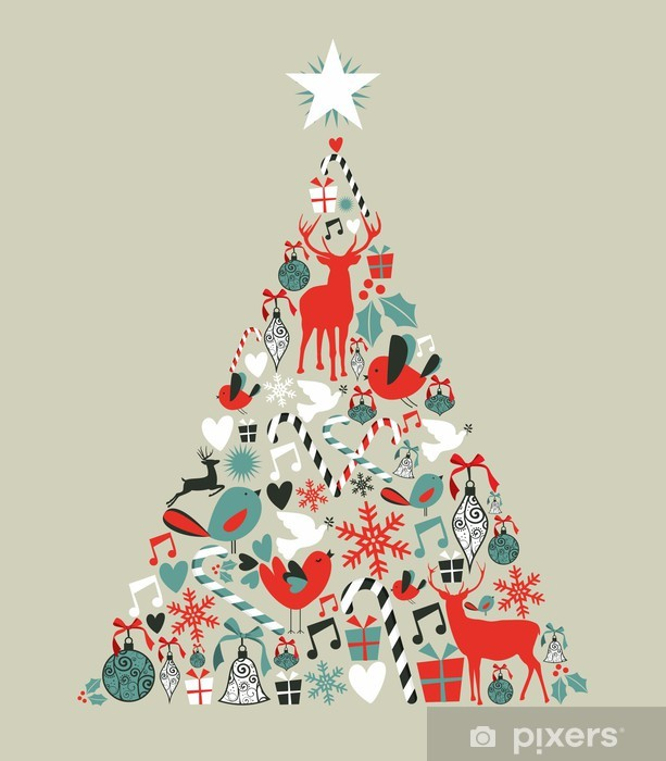 Sticker Pixerstick Graphismes de Noël pin - Fêtes internationales