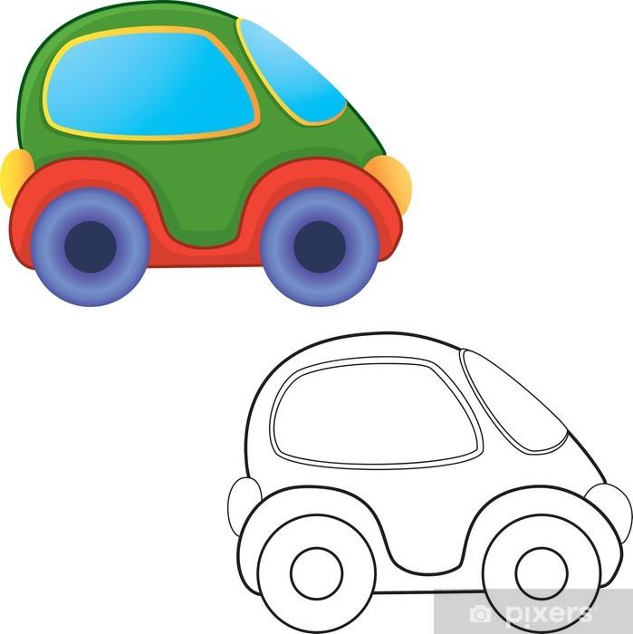 Fototapeta Wektor zabawka samochód. Kolorowanka. • Pixers ...