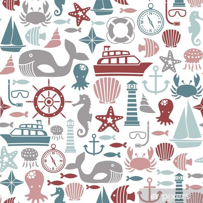 Papier peint vinyle Seamless, avec des icônes de la mer - Animaux marins