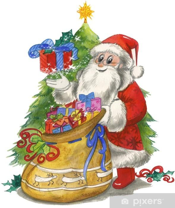 6c13be6b25 Sticker Pixerstick Père Noël avec sac et arbre décoré, aquarelle - Fêtes  internationales