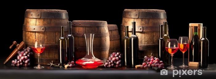 Papier peint vinyle Nature morte avec du vin rouge et vieux baril - Thèmes