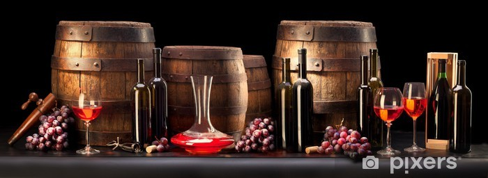 still life with red wine and old barrel Pixerstick Sticker - Themes