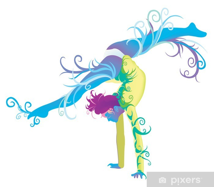 Gymnastic performer with abstract and fantasy concept Pixerstick Sticker - Art and Creation
