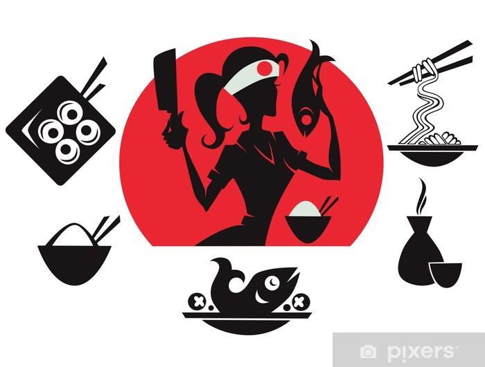 Papier peint vinyle Belle chef de sushi, silhouettes alimentaires asiatiques - Repas