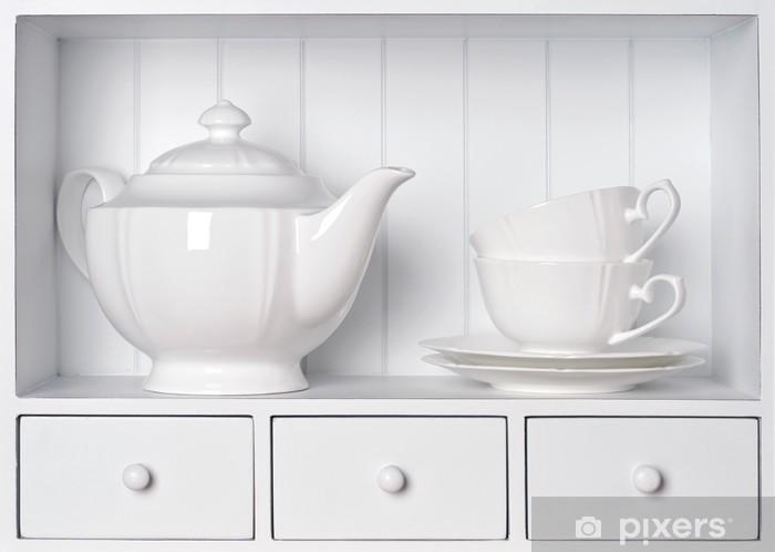 Fototapete Weiß Regal mit Vintage Porzellan Geschirr