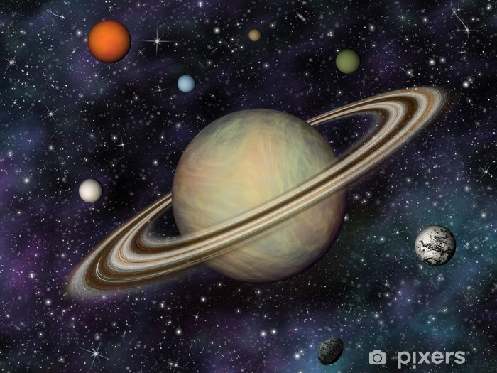 Papier peint vinyle Solar System 3D. Saturne et ses 7 plus grandes lunes. - Planètes