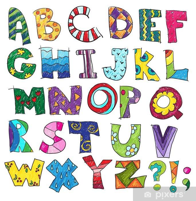 Vinilo para Nevera ABC. Niños alfabeto divertido, vector - Temas