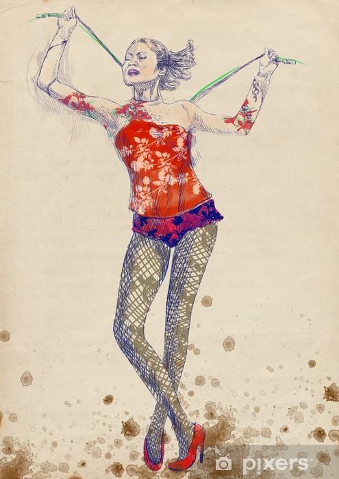 Sticker Pixerstick Gymnastique et de cirque - dessin plein de main de taille (tablette numérique) - Femmes