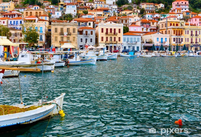 Traditional fishing village of Gytheio in Greece Pixerstick Sticker - Europe