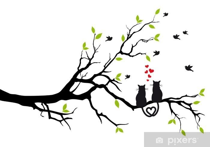 Fotomural Estándar Gatos en amor en rama de árbol, vector - Destinos