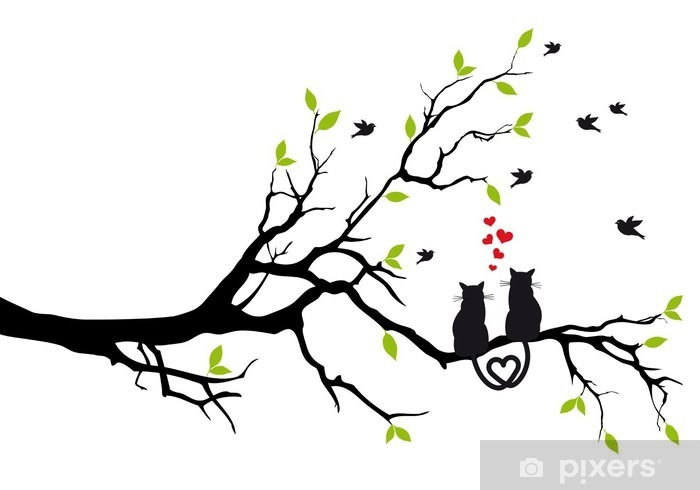 cats in love on tree branch, vector Pixerstick Sticker - Destinations