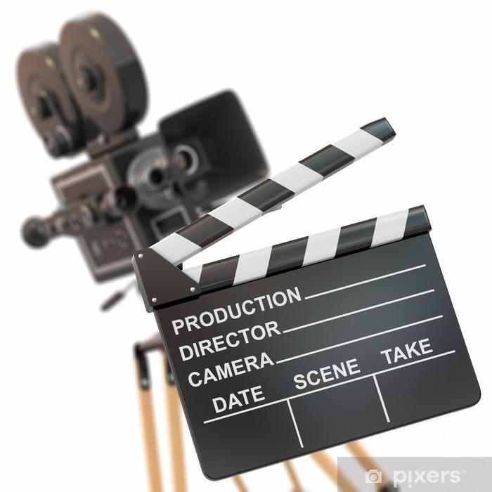 Sticker Pixerstick Composition du film. Caméra et clap Vintage. - Thèmes