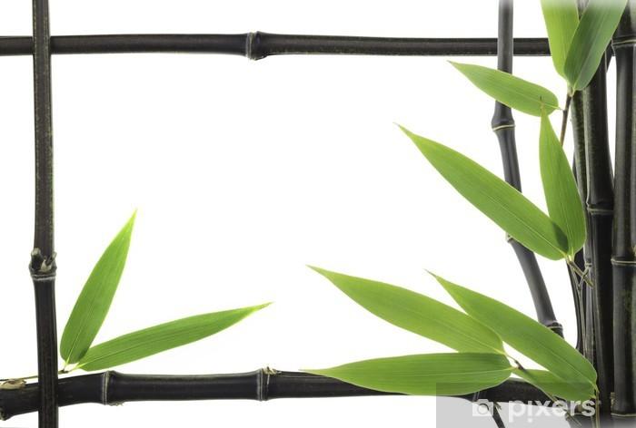 Vinyl-Fototapete Schwarzer Bambus-Blätter und Stiele als Rahmen - Jahreszeiten