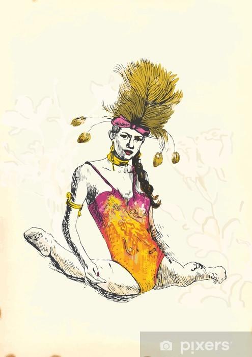 Papier peint lavable Gymnastique et le sujet de cirque - dessin à la main dans le vecteur - Divertissements