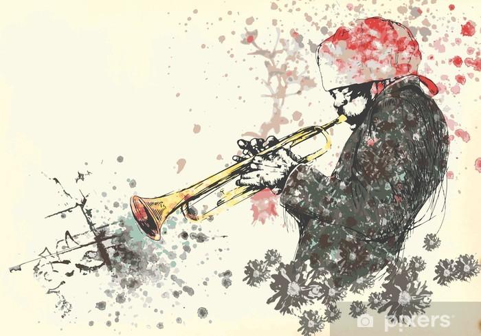 Vinyl Fotobehang Muzikant, trompettist. Hand tekening in vector - Amusement