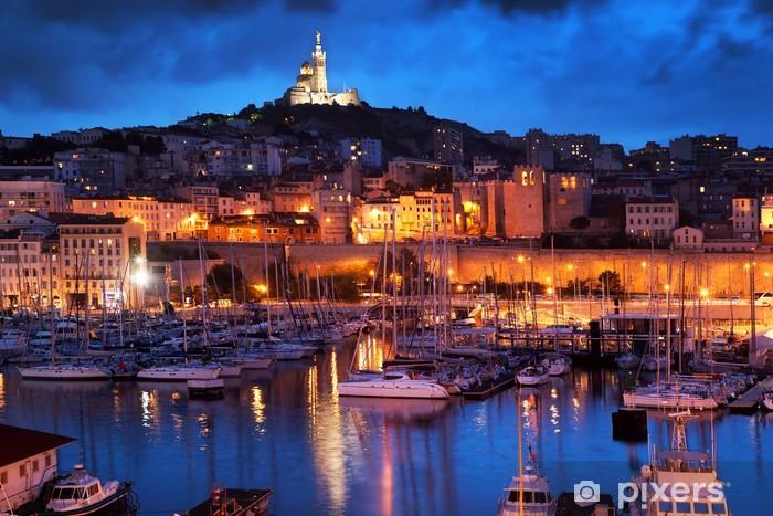 Naklejka Pixerstick Marsylia, Francja panorama w nocy, port. -
