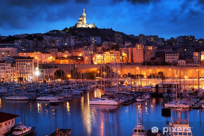 Pixerstick Sticker Marseille, Frankrijk panorama in de nacht, de haven. -