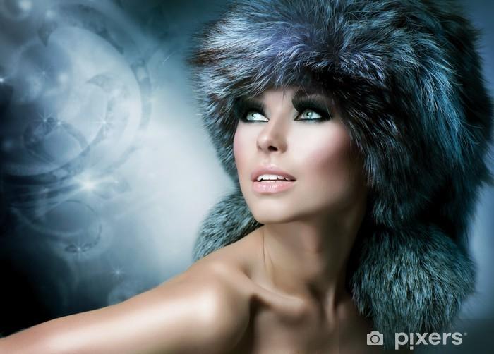 Fashion Beautiful Girl In Fur Hat Winter Woman Wall Mural Vinyl