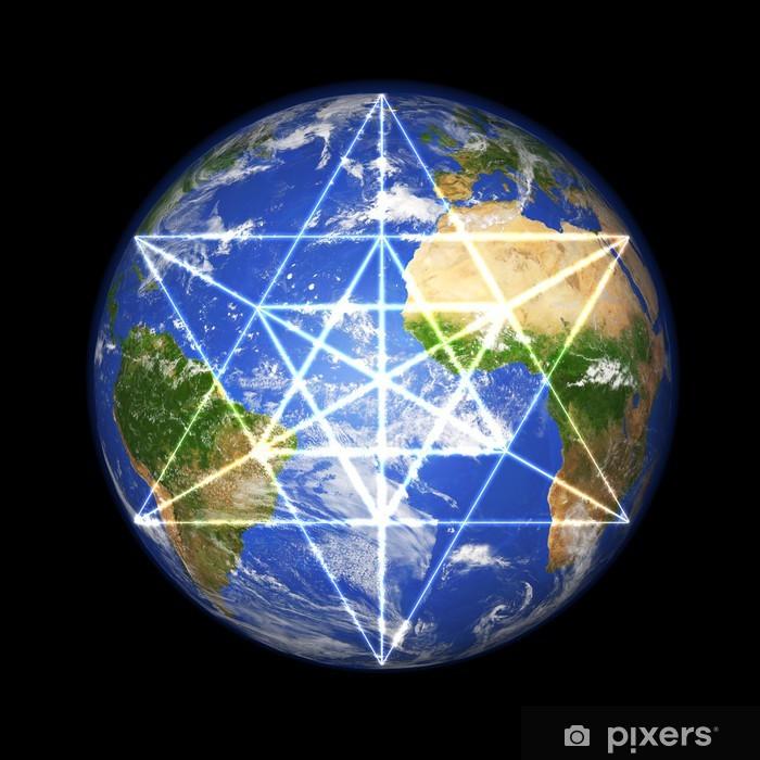 Plakat 3D Globe z Merkaby symbol - Ezoteryka