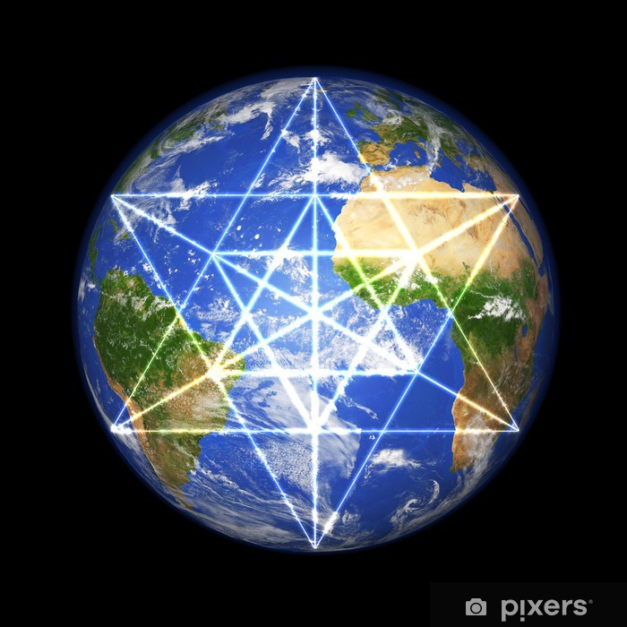 Poster 3D Erdkugel mon Merkaba Symbole - Esotérisme
