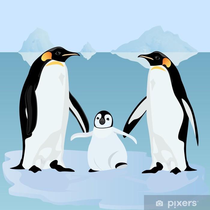Sticker Pixerstick Pingouins sur la banquise - Oiseaux