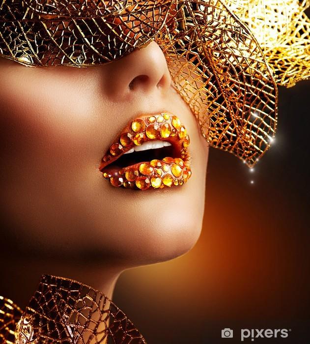 Luxury Golden Makeup  Beautiful Professional Holiday Make-up Sticker -  Pixerstick