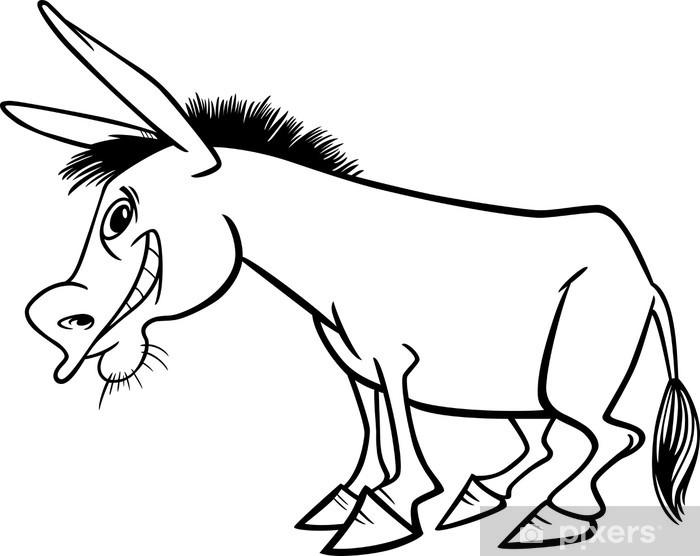 Boyama Kitabı Için Karikatür Eşek Duvar Resmi Pixers Haydi