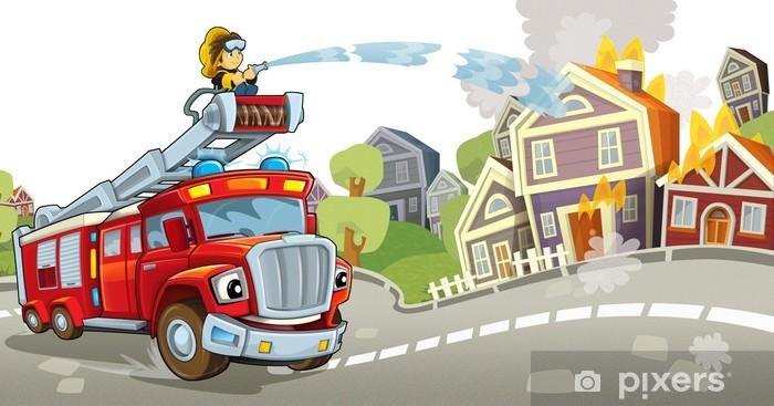 Sticker Pixerstick Le camion de pompiers - Sur la route