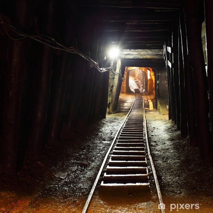 Sticker Pixerstick Chemin de fer des mines en underground. - Thèmes