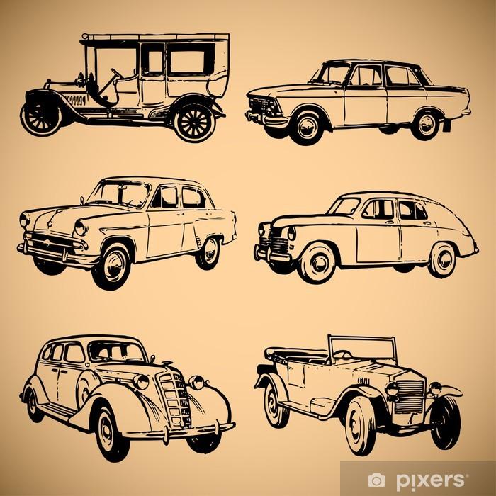 Poster en cadre Les voitures modernes et vintage silhouettes collection - Signes et symboles