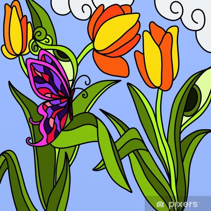 Fototapeta winylowa Pomarańczowe tulipany - Pory roku