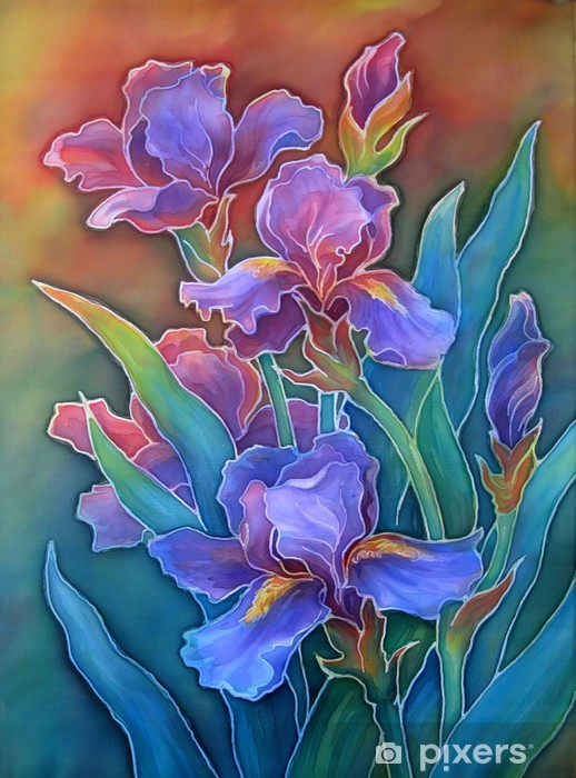 Papier peint vinyle Iris. Peinture batik sur le tissu. - Fleurs