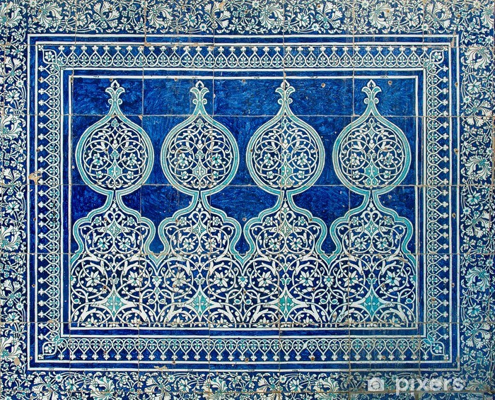 Tiled background with oriental ornaments Pixerstick Sticker - Abstraction