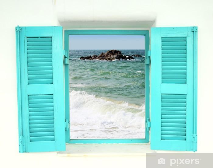 Vinyl Fotobehang Griekse stijl venster met uitzicht op zee - Thema's