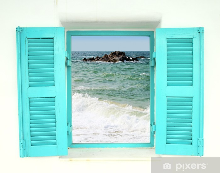 Greek style window with sea view Vinyl Wall Mural - Themes