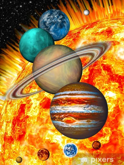 Papier peint vinyle Système solaire: la taille comparée des planètes et du soleil. - Planètes