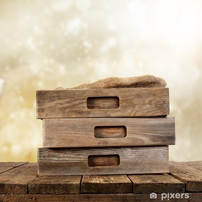 Poster Tiroirs rustiques sur des planches de bois - Arrière plans