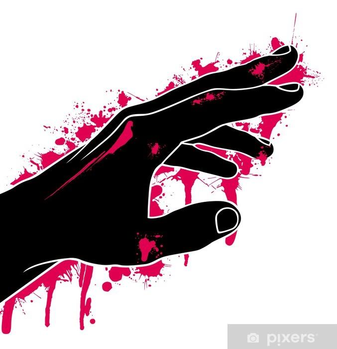 Pixerstick Aufkleber Hand in Blut, Abstraktion, Vektor-Illustration - Traurigkeit