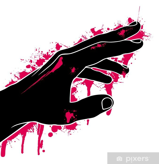 Vinyl-Fototapete Hand in Blut, Abstraktion, Vektor-Illustration - Traurigkeit