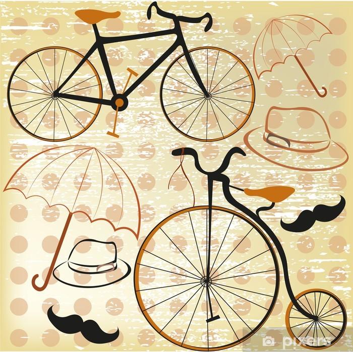 Adesivo Pixerstick Vecchie biciclette in stile un giro tweed - Biciclette