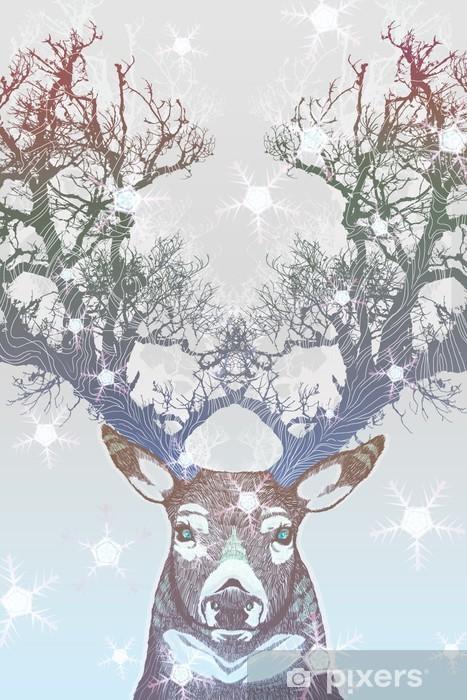 Afwasbaar Fotobehang Bevroren boom hoorn herten -