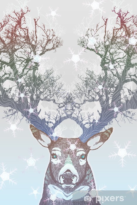 Naklejka Pixerstick Drzewo rogów jelenia mrożone -