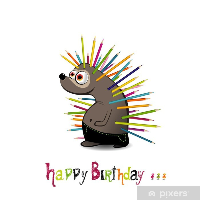 Happy Birthday Hedgehog with pencils Vinyl Wall Mural - Celebrations
