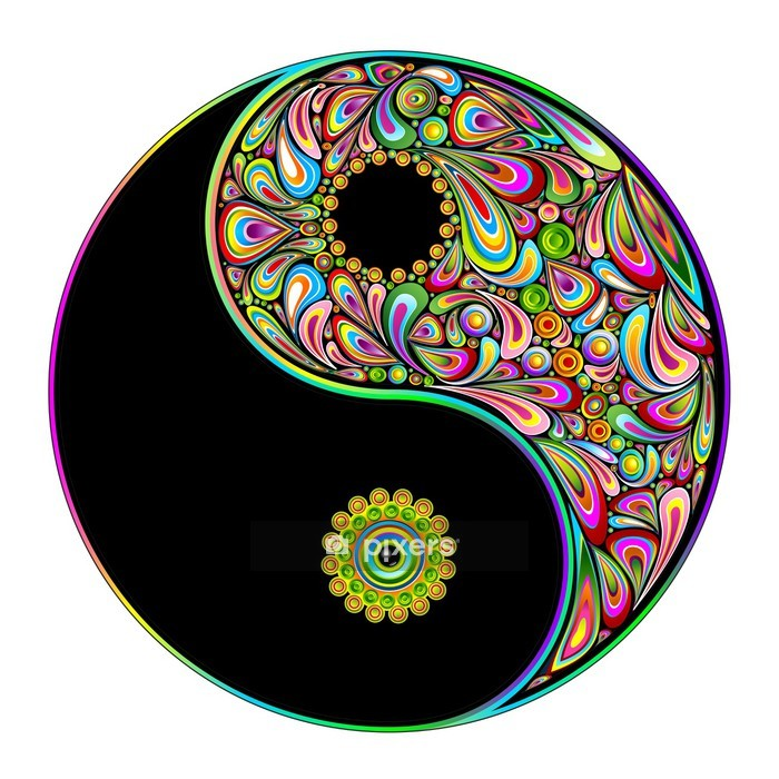 Naklejka na ścianę Yin yang symbol sztuki psychodeliczny projekt-simbolo psichedelico - Naklejki na ścianę