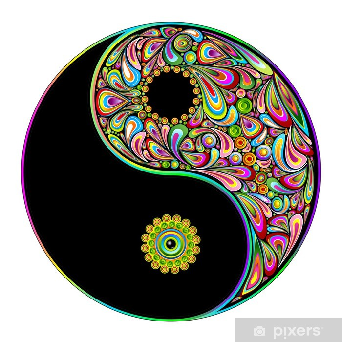 Fotomural Estándar Yin Yang Symbol Psychedelic Art Design-Simbolo psichedelico - Vinilo para pared