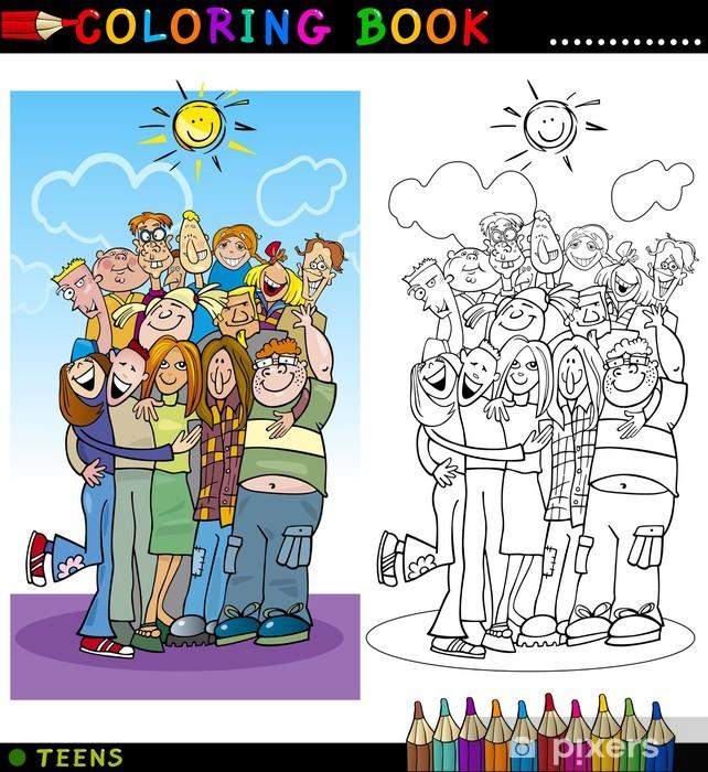 Boyama Için Mutlu Gençler Grup Duvar Resmi Pixers Haydi